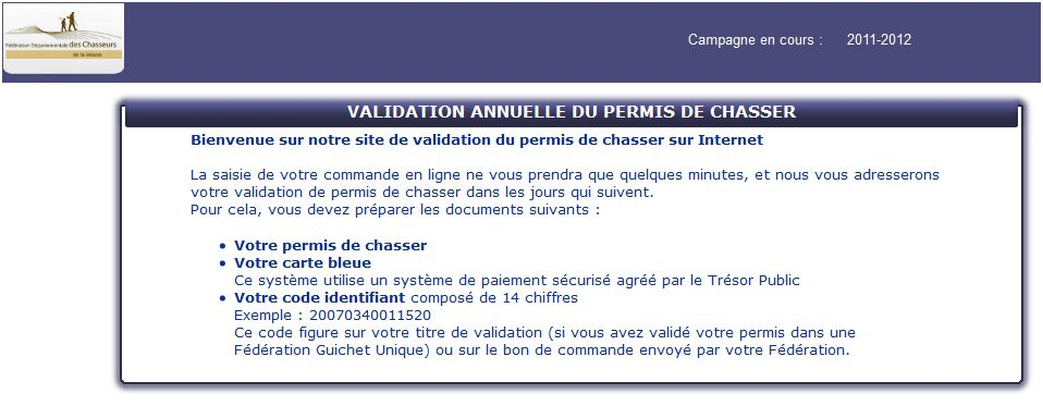 site internet validation annuelle du permis de chasser